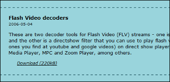 Flash Video decoders ダウンロード