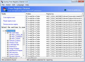 Eusing Free Registry Cleaner