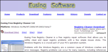 Eusing Free Registry Cleaner ダウンロード