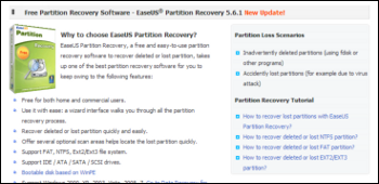 Easeus Partition Recovery ダウンロード