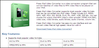 Freez iPod Video Converter ダウンロード