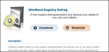 WinMend Registry Defrag ダウンロード